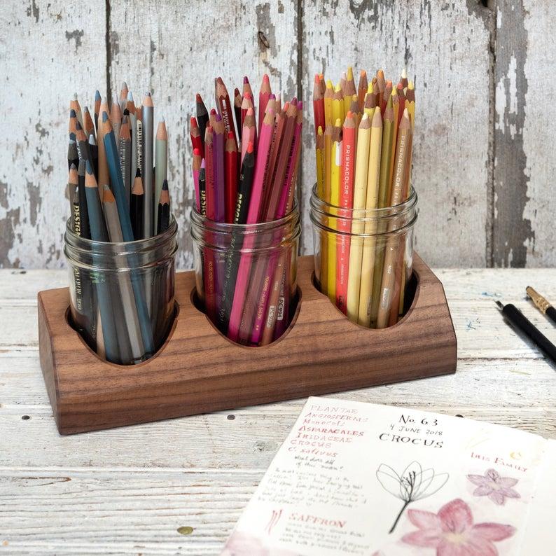 paint brush storage: desk organiser