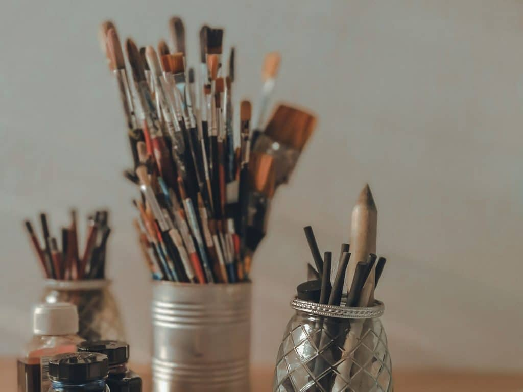 Studio supplies: brushes