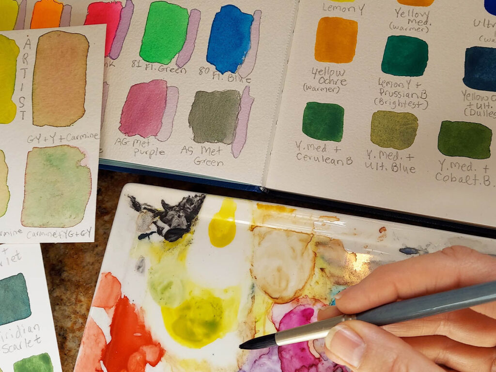 how to use watercolour pencils: create swatches
