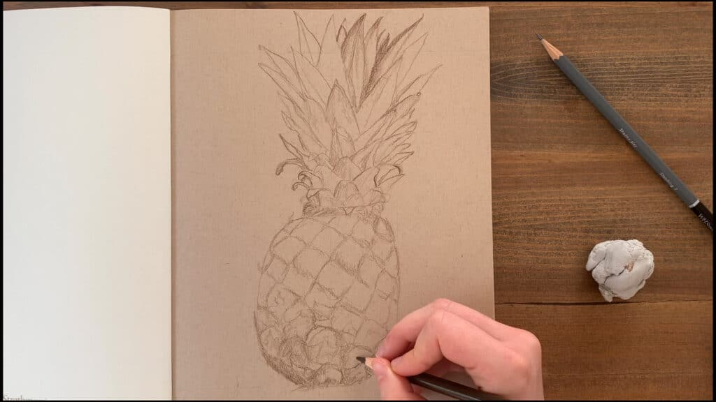 draw pineapple details