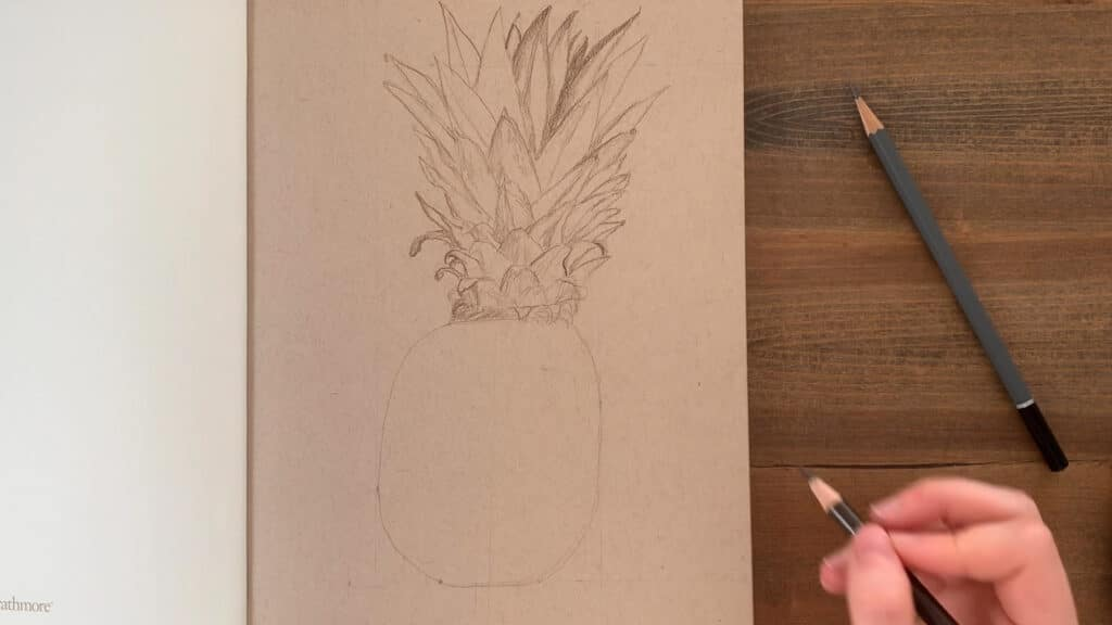 outline sketch of pineapple